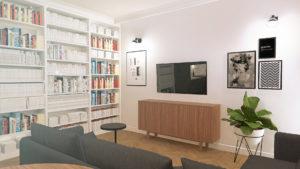 Salon z aneksem kuchennym. Skog Interior design Łódź Poland. Projektowanie wnętrz.